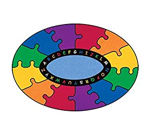Learning Carpets CPR452 - Abc Puzzle Oval, Small