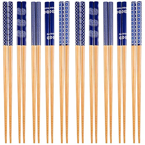 SATINIOR 10 Pairs Bamboo Chopsticks Japanese Style Chopsticks for Home Eating Travel Camping (Color 1)