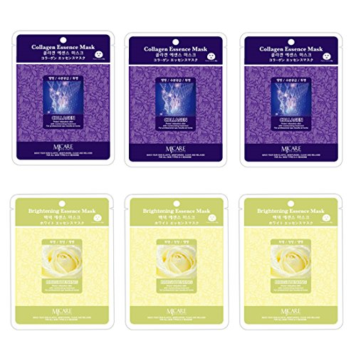 Mulgwang Collagen Brightening Essence Face Facial Mask Package 6pcs - Enlarged Living Nature Grind Compressed Sheet Mask by DCKR