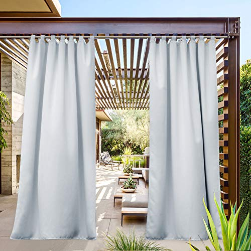 NICETOWN Tab Top Outdoor Curtains Waterproof, Thermal Insulated Room Darkening Outside Drape Water Resistant Privacy Protected for Valley/Yard/Cabana (1 Pack, W52 x L84, Greyish White)