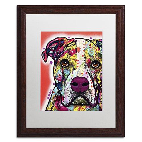 American Bulldog by Dean Russo, White Matte, Wood Frame 16x20-Inch