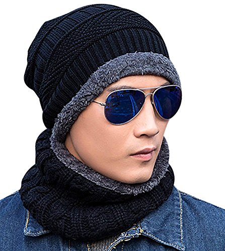 Skull With Cowboy Hat (Beanie Hat Scarf Set Winter Warm Knit Hat Thick Skull Cap For Men and Women (01 Black, Beanie Hat))