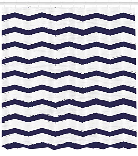 Cottage Sea (Ambesonne Navy Shower Curtain, Chevron Twisty Pattern in Nautical Style Tones Ocean Sea Life Cottage House Design, Fabric Bathroom Decor Set with Hooks, 84 Inches Extra Long, Indigo White)