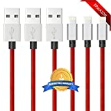 BULESK iPhone Cable 3Pack 10FT Nylon Braided Certified Lightning to USB iPhone Charger Cord for iPhone 7 Plus 6S 6 SE 5S 5C 5, iPad 2 3 4 Mini Air Pro, iPod - Red