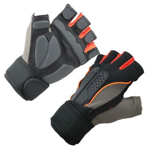 Men Weight Lifting Gym Fitness Workout Training Exercise Half Gloves Orange Size M