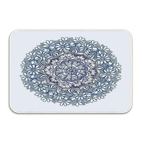 2' Medallion Insert - Huayuanhurug Welcome Mat Funny Doormat for Entrance Way Front Door Mat No Slip Kitchen Rugs 16 X 24 Inches - Indigo Medallion with Butterflies & Daisy Chains