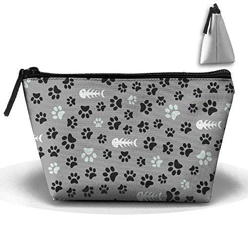 XIANGKESI Unisex Stylish And Practical Messy Dog Footprints And Fish Bones Trapezoidal Storage Bags Handbags by XIANGKESI