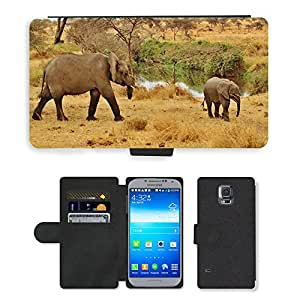 PU LEATHER case coque housse smartphone Flip bag Cover protection // M00109960 Safari Elefante Tanzania Serengeti // Samsung Galaxy S5 S V SV i9600 (Not Fits S5 ACTIVE)