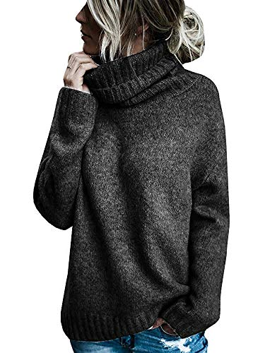 Beautife Womens Sweaters Casual Turtleneck Long Sleeve Soft Knitted Sweater Pullover Black