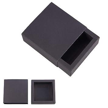 BENECREAT 20 Pack Caja de Cartón Kraft Cajas de Regalo para Fiesta Superior Envase de Joyería - Negro 8.3x8.3x3.3cm
