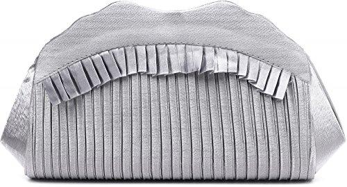 VINCENT PEREZ, Embrague, bolsos de noche, bandolera, bolsos de mano, bolsos axilares de raso con imitación de strass, con cadena amovible (120 cm), 31,5x9,5x8,5 cm (AN x AL x pr), color: negro plata