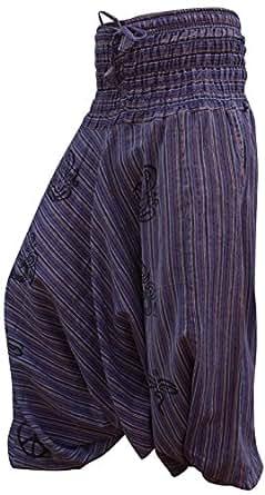 Stonewash Cotton Stripes Harem Trouser,loose Multicolour Hippy Pants,hippie,boho (purple)
