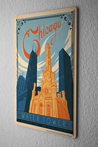 Tin Sign Deco City Chicago Water Tower - Chicago Tower Water Place