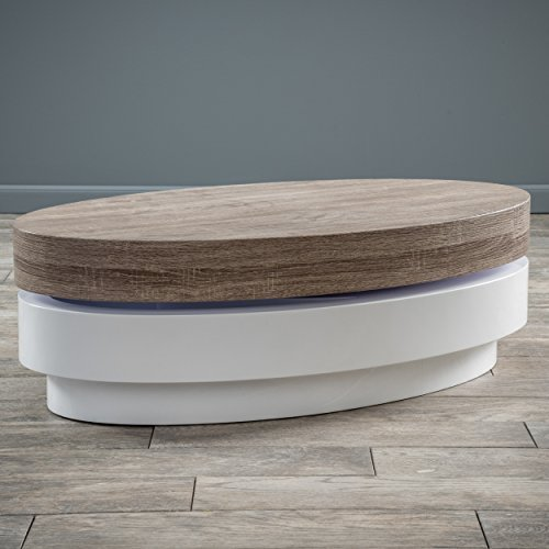 Arlo Oval Mod Swivel Coffee - Oak Table Oval Coffee