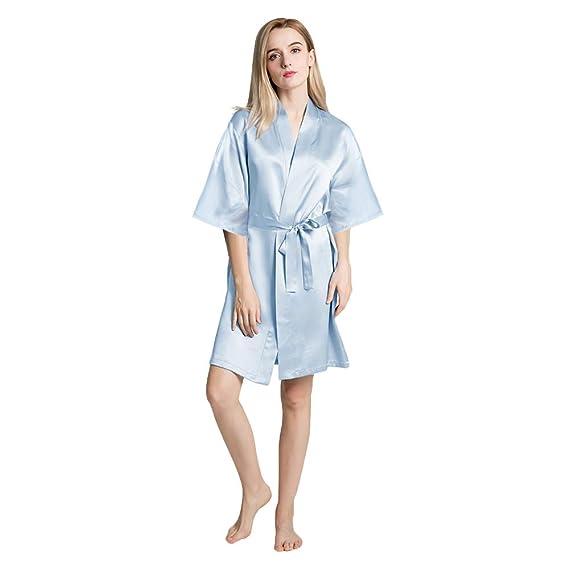 1a75ef6c1b77b4 OLESILK Damen Kurz Morgenmantel Satin Kimono Kurzarm Robe Bademantel mit  Gürtel V-Ausschnitt Nachtwäsche Negligee