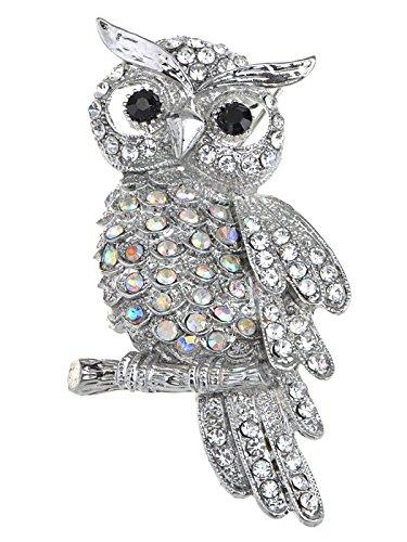 Alilang Crystal Rhinestone Perched Owl Silvery Tone Pin (Crystal Owl Pin)