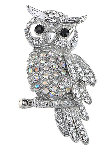 (Alilang Crystal Rhinestone Perched Owl Silvery Tone Pin Brooch)