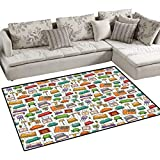 Doodle Anti-Static Area Rugs Various Home Interior Elements Armchair Table Mirror Design Elements Doodle Style Children Kids Nursery Rugs Floor Carpet 36''x48'' Multicolor