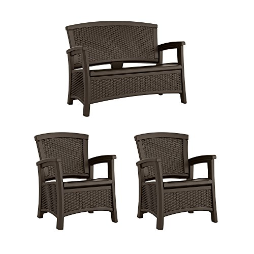 Suncast Elements Wicker Design Loveseat with Storage + Club Chair, Java (2)