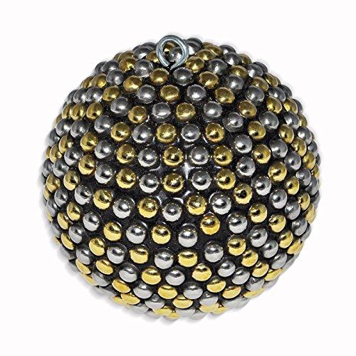 DakshCraft Golden Silver Christmas Decorative Ball in Round Shape, 3
