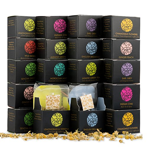 Mini Cube Variety Tea Gift Pack (20 Individually Wrapped Mesh Bags) (Tea Favors)