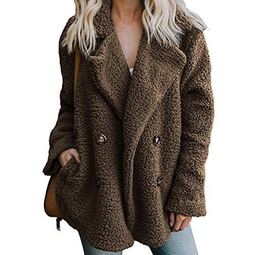 Fuzzy Coats for Women Petite Winter Warm Shearling Jacket Faux Fur Brown Fluffy Jacket Sweater Oversized Cardigan BR_S