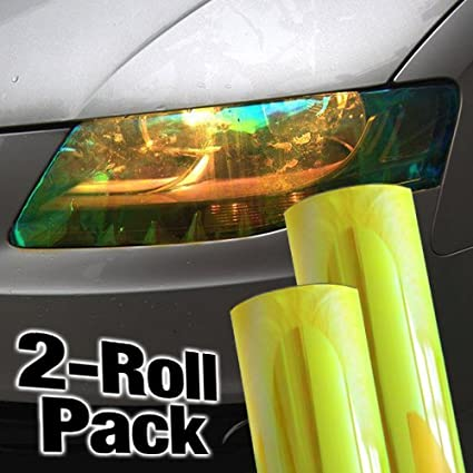 sticky-graphics Chameleon Gold Yellow Gloss Vinyl Headlight Foglight Wet Tint Wrap Adhesive 12 Inches x 24 Inches 2-Roll Pack