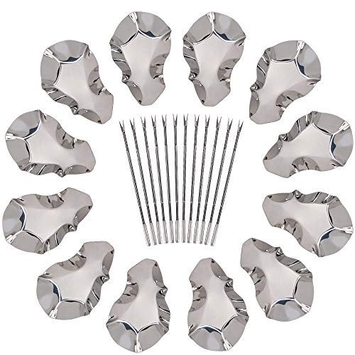 (Oyster Shells Stainless Steel Reusable Grill Tray Serving Shell 12 Pack for Grilling and Cooking Oysters 24 Piece Set Seafood Tools Complete with 12 Forks)