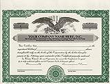 Custom Printed Corporate Stock Certificates, HUBCO, Green, 20-Pack