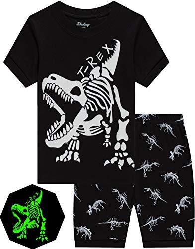 Pajamas for Boys Glow in Dark Dinosaur Short Pj Kids Cotton Sleepwear Toddler Baby Clothes 2t
