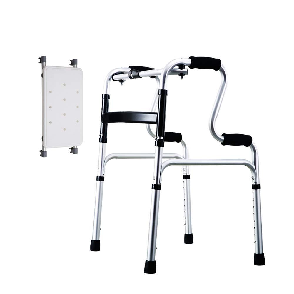 Portable Aluminum Folding Walker, 8 Adjustable Gears, 2 Wheels, Silver (Size : Walker+Bath Board)