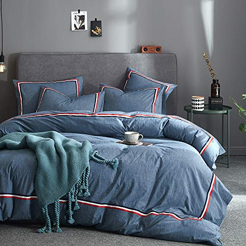 - Joyreap 3 Pieces Duvet Cover Set, Premium Washed Cotton, Solid Colors with Tricolor Stripes,1 Duvet Cover with Zipper n 2 Pillowcases, Ultra Soft, Breathable Hypoallergenic for (Denim Blue, Queen)