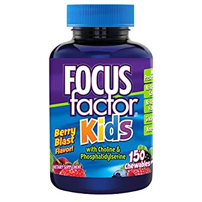Focus Factor Kids Complete Daily Chewable Vitamins: Multivitamin & Neuro Nutrient (Brain Function) w/ Vitamin B12, C, D3 - 150 Count, 75 Day Supply