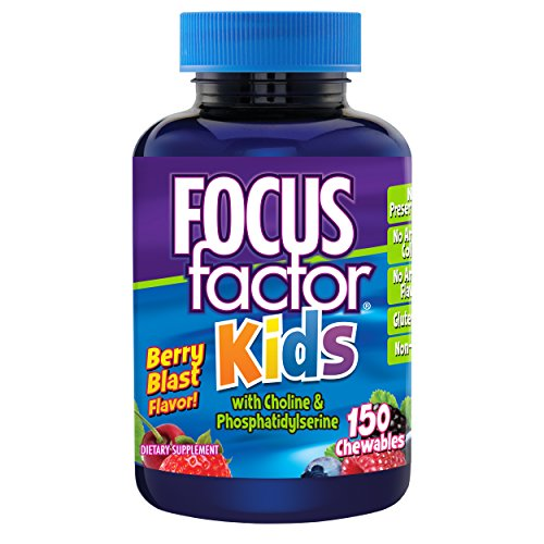 Brain Nutrients (Focus Factor for Kids Complete Vitamins: Multivitamin & Neuro Nutrients (Brain Function), Vitamin B12, C, D3, 150 Count, 75 DAY SUPPLY)