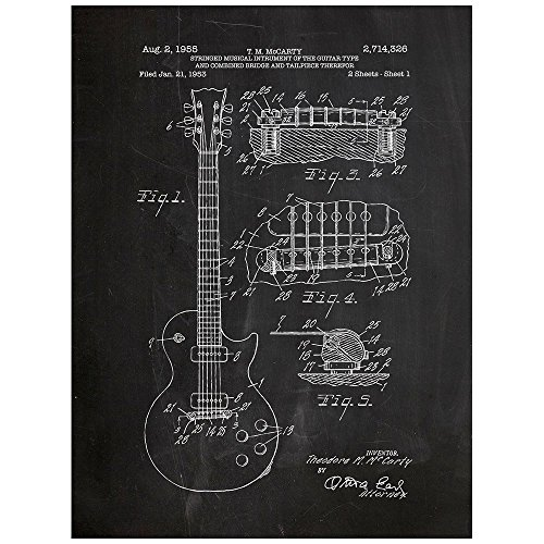 Inked and Screened Gibson Les Paul Guitar Design Patent Art