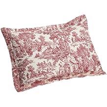 Ellis Curtain Victoria Park Toile Pillow Sham Standard Size, Red