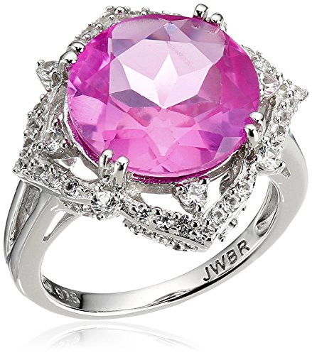 Sterling Silver Round Shape Created Pink Sapphire with Created White Sapphire Cocktail Ring, Size 7