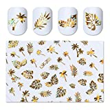 1 Pack 3D Gold Holographic Nail Art Sticker Coconut Tree Leaf Holo Water Transfer Nails Wrap Paint Tattoos Stamp Plates Templates Tools Tips Kits Pleasure Popular Stick Tool Vinyls Decals Kit