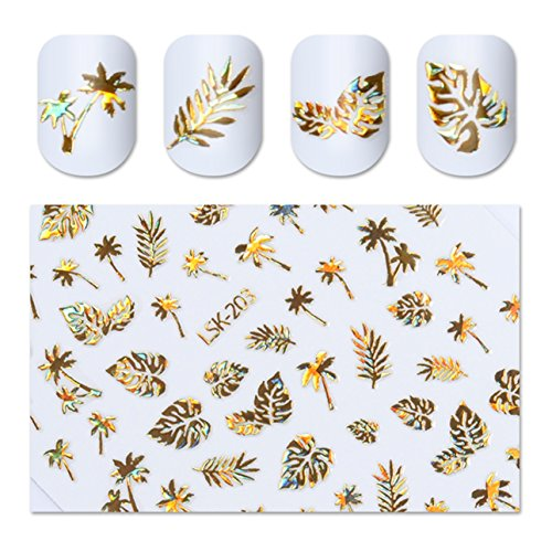 Quartz Leaf (1 Pack 3D Gold Holographic Nail Art Sticker Coconut Tree Leaf Holo Water Transfer Nails Wrap Paint Tattoos Stamp Plates Templates Tools Tips Kits Pleasure Popular Stick Tool Vinyls Decals Kit)