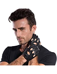 MATSU Mens Super Soft Fingerless Driving Leather Black Gloves Available for Rivets DIY M813