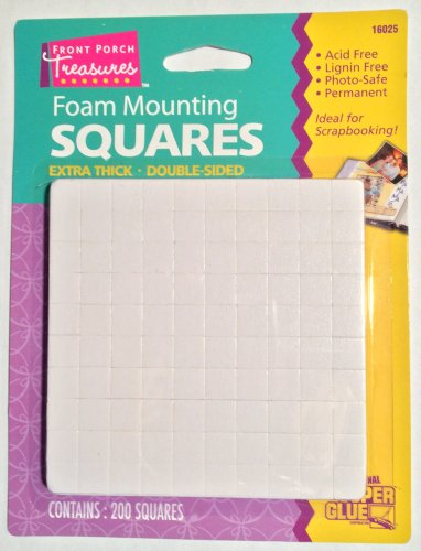 Foam Mounting Squares Double Sided Extra Thick Small 200 Squares Per Package (2 packs)