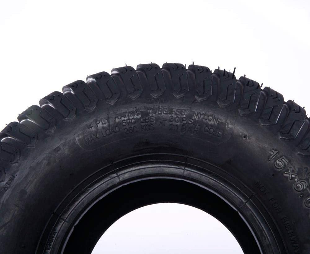 PARTS-DIYER 2 PCS 15x6.00-6 Turf Tires Tubeless 4 Ply fit for Lawn Mower Tractor
