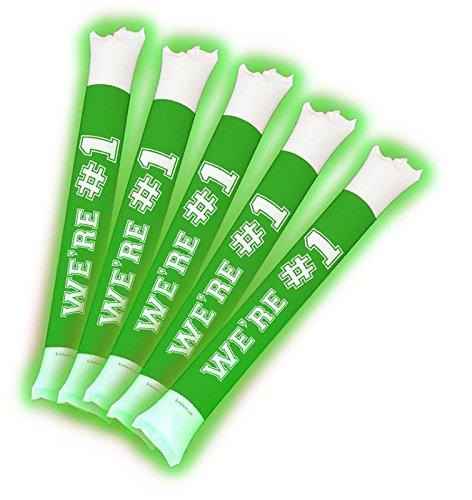 School Stick (Brite Boltz - Spirit Green & White Team Light Up Spirit Bang Sticks - Party School Cheering Sticks 25 pack)