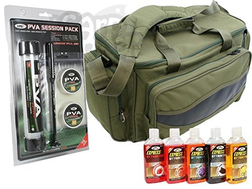 Carp Fishing Green Carryall Bag Padded PVA Tube Bags string Tape & 5 Bait Glugs Made By NGT by NGT