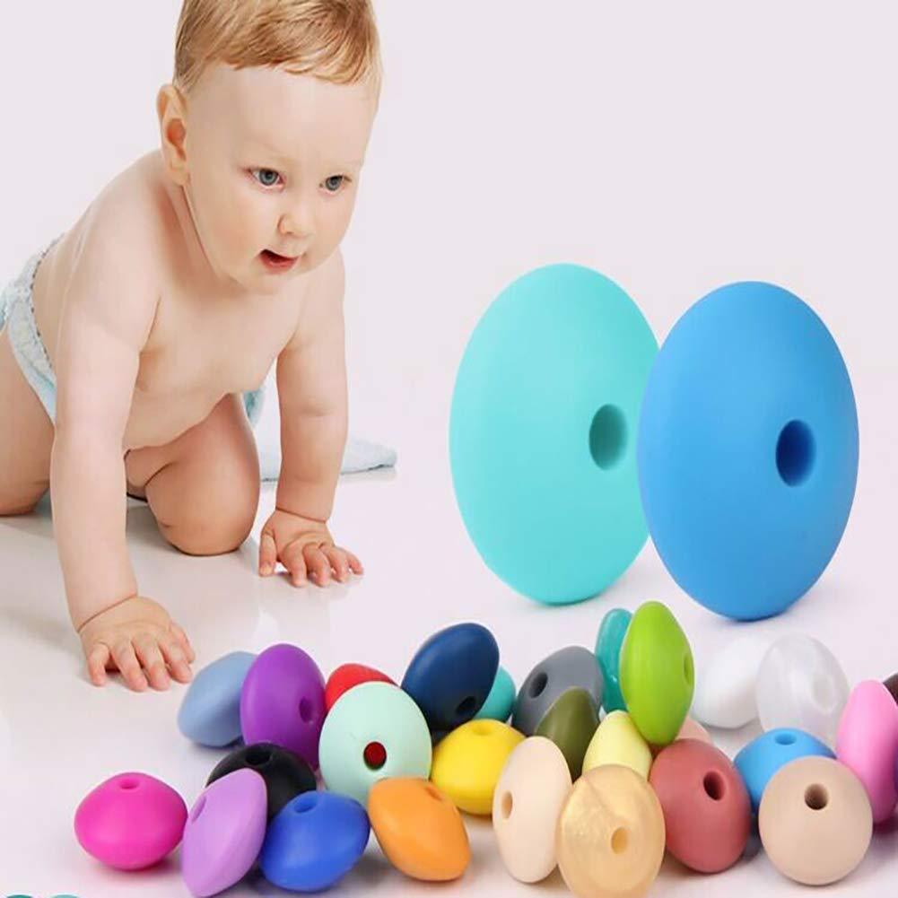 Naisicatar 10pcs Mordedor DIY perlas de silicona dentici/ón infantil hecha a mano joyer/ía de seguridad de forma redonda Mix Color perlas collar de juguete caramelo que hace de accesorios