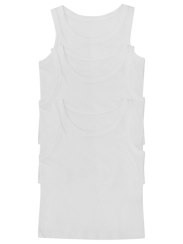 M/&Co Boys 100/% Cotton Sleeveless Plain White Round Neck Cosy Under Layer School Everyday Vests Three Pack