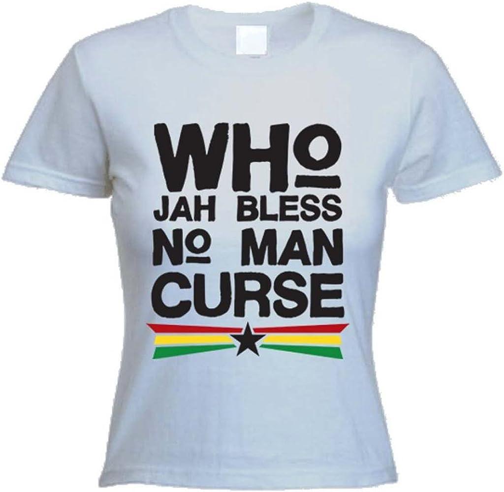 Who Jah Bless No Man Curse Reggae Camiseta para mujer