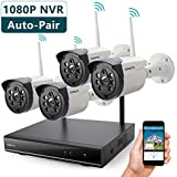 ONWOTE 1080P HD NVR Outdoor Wireless Home Security Camera System WiFi with 4 960P HD 1.3 Megapixel Night Vision IP Surveillance Cameras, NO Hard Drive (Built-in Router, Auto Pair, Motion Alert)