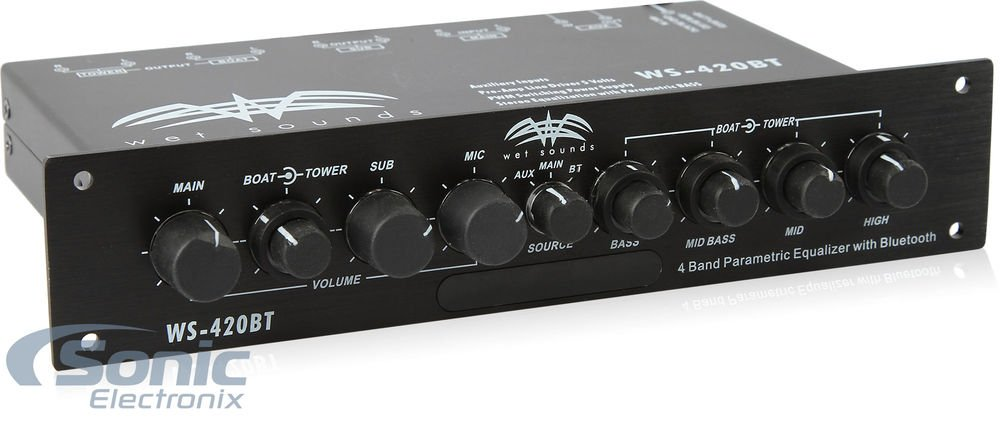 Wet Sounds 4-Band Parametric Marine Equalizer w// 3 Zone Operation /& Microphone