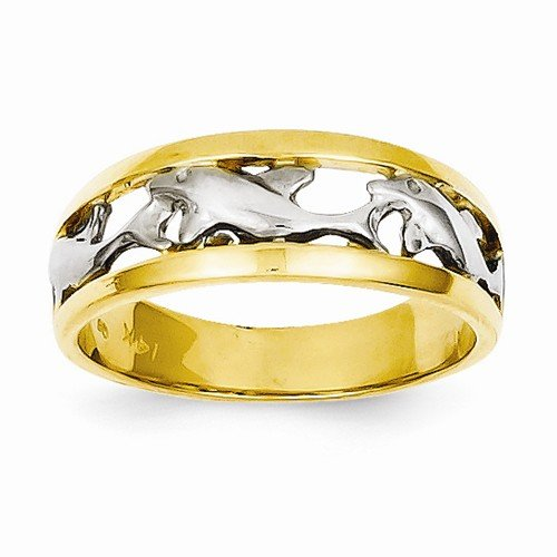 Dolphin White Ring Gold (Size - 6 - Solid 14k Yellow & White Two Tone Gold Dolphin Ring (6mm))